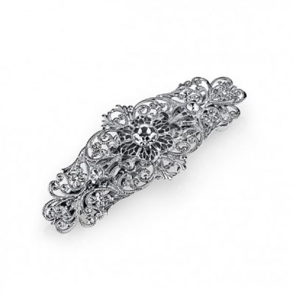 Silver-tone Crystal Filigree Bar Barrette