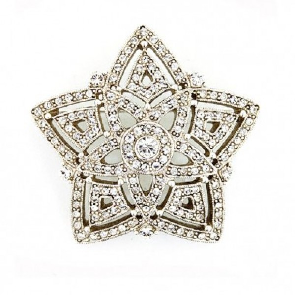 Antiquities Couture Swarovski Crystal Silver-tone Star Brooch