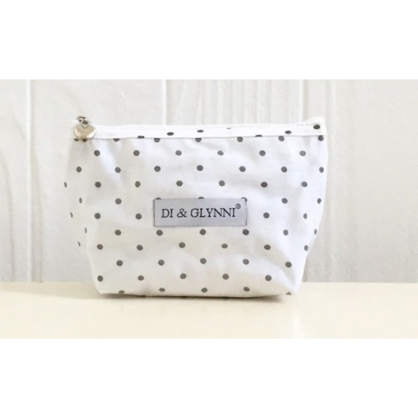 Cosmetic Bag, Plastic Covered (Small) - Polka Dot