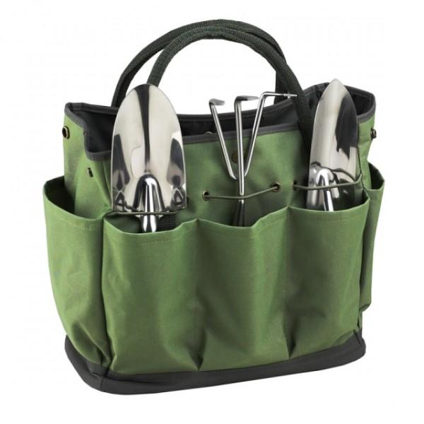 Garden Tote & Tools Set Green