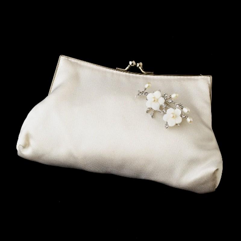 New Silk Satin Evening Bag 202 With Silver Freshwater Pearl Rhinestone Flower Brooch