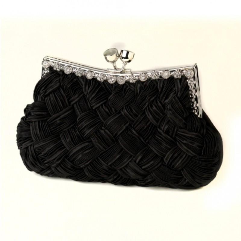 Elegant Evening Clutch Purse Black Satin Clear Crystal